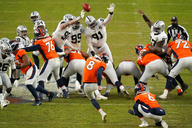 Las Vegas Raiders block a field goal attempt by Denver Broncos kicker Brandon McManus (8) during the first half of an NFL football game, Sunday, Jan. 3, 2021, in Denver. (AP Photo/Jack Dempsey)