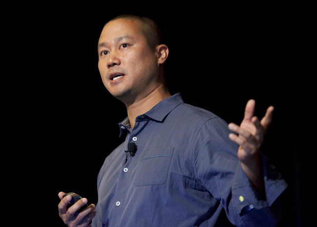 FILE - In this Sept. 30, 2013, file photo, Tony Hsieh speaks during a Grand Rapids Economic Club luncheon in Grand Rapids, Mich. Hsieh, the retired CEO of online shoe retailer Zappos, left no will before he died as a result of injuries sustained during a house fire last month in Connecticut, court documents said Wednesday, Dec. 2, 2020. (Cory Morse/The Grand Rapids Press via AP, File)