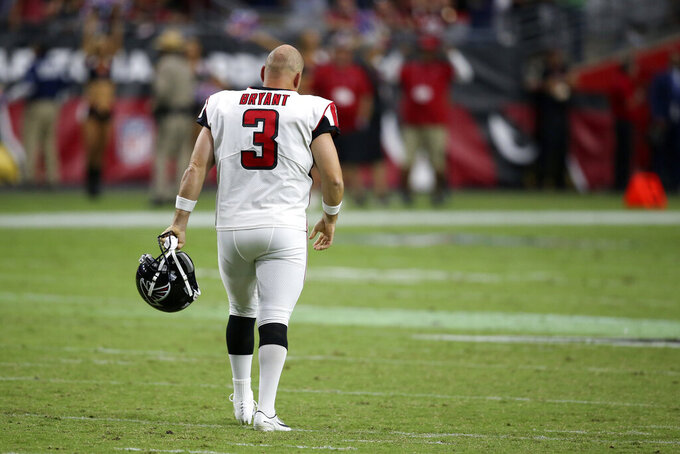 Atlanta Falcons kicker Matt Bryant (3) walls to his bench after missing the point after against the Arizona Cardinals during the second half of an NFL football game, Sunday, Oct. 13, 2019, in Glendale, Ariz. (AP Photo/Ross D. Franklin)