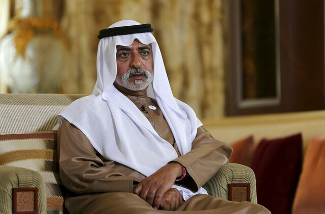 FILE - In this Jan. 24, 2019 file photo, Sheikh Nahyan bin Mubarak Al Nahyan, the tolerance minister of the United Arab Emirates, speaks to The Associated Press in Abu Dhabi, United Arab Emirates. The chair of Britain's Hay literary festival said Sunday, Oct. 18, 2020, that the event will not return to Abu Dhabi after one of the festival's curators alleged that she was sexually assaulted by Sheikh Nahyan while working with him. When asked about the allegation by the AP, the UAE's Foreign Ministry said it does not comment on personal matters. (AP Photo/Kamran Jebreili, File)