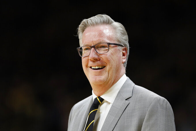 Iowa head coach Fran McCaffery watches from the bench during the second half of an NCAA college basketball game against North Florida, Thursday, Nov. 21, 2019, in Iowa City, Iowa. (AP Photo/Charlie Neibergall)