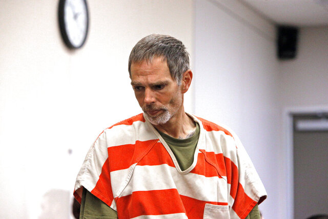 In this Thursday, Nov. 21, 2019 photo, Garrett Scheff appears in court in Salinas, Calif. Police in central California say a pregnant woman was stabbed to death in a random attack outside her home. Police say 26-year-old Mariana Jurado was leaving for work Tuesday morning when 43-year-old Garrett Scheff stabbed her multiple times in a