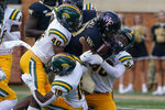 Wake Forest running back Ahmani Marshall is tackled by Norfolk State during the second half of a NCAA college football game Saturday, Sept. 11, 2021, in Winston-Salem, N.C. (AP Photo/Chris Carlson)