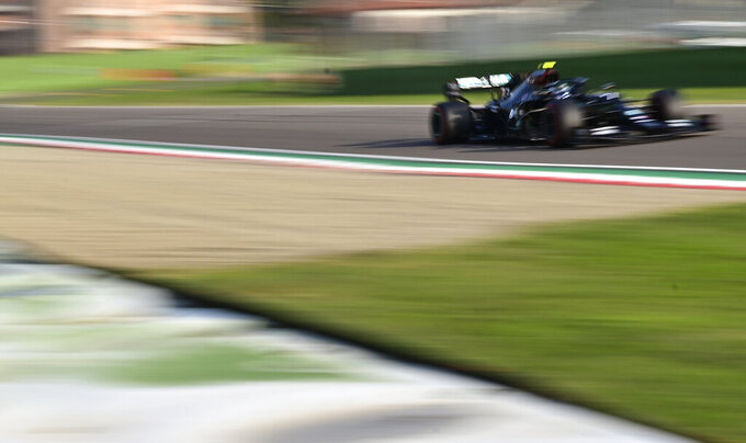 Mercedes driver Valtteri Bottas of Finland steers his car during qualification ahead of Sunday's Emilia Romagna Formula One Grand Prix, at the Enzo and Dino Ferrari racetrack, in Imola, Italy, Saturday, Oct. 31, 2020. (Miguel Medina, Pool via AP)
