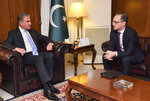 In this photo released by the Pakistan Foreign Office, Pakistani Foreign Minister Shah Mahmood Qureshi, left, meets with German Foreign Minister Heiko Maas in Islamabad, Pakistan, Tuesday, March 12, 2019. Qureshi said Tuesday that