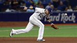 Tampa Bay Rays third baseman Matt Duffy makes an error on a ground ball by Seattle Mariners' Tim Lopes during the fifth inning of a baseball game Tuesday, Aug. 20, 2019, in St. Petersburg, Fla. Lopes was safe at first. (AP Photo/Chris O'Meara)