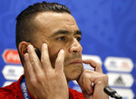 Egypt captain Essam El Hadary listens to a question during a press conference on the eve of the group A match between Egypt and Uruguay at the 2018 soccer World Cup in the Yekaterinburg Arena, Yekaterinburg, Russia, Thursday, June 14, 2018. (AP Photo/Mark Baker)