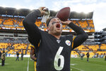 Pittsburgh Steelers quarterback Devlin Hodges (6) celebrates after defeating the Cleveland Browns during in an NFL football game, Sunday, Dec. 1, 2019, in Pittsburgh. (AP Photo/Don Wright)