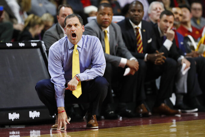 Iowa State head coach Steve Prohm watches from the bench during the first half of an NCAA college basketball game against Northern Illinois, Tuesday, Nov. 12, 2019, in Ames, Iowa. (AP Photo/Charlie Neibergall)