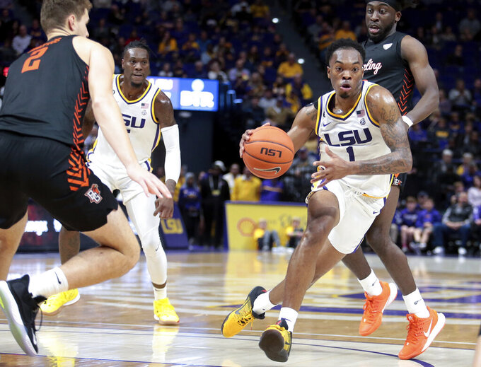 LSU guard Javonte Smart (1) drives to the goal against Bowling Green during the first half of an NCAA college basketball game in Baton Rouge, La., Friday, Nov. 8, 2019. (AP Photo/Brett Duke)