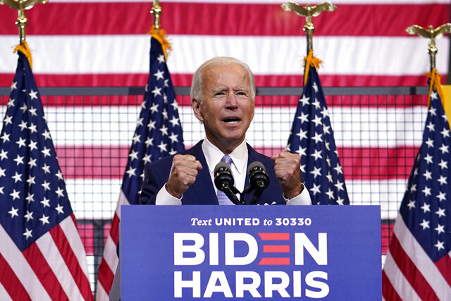 Democratic presidential candidate former Vice President Joe Biden speaks at campaign event at Mill 19 in Pittsburgh, Pa., Monday, Aug. 31, 2020. (AP Photo/Carolyn Kaster)