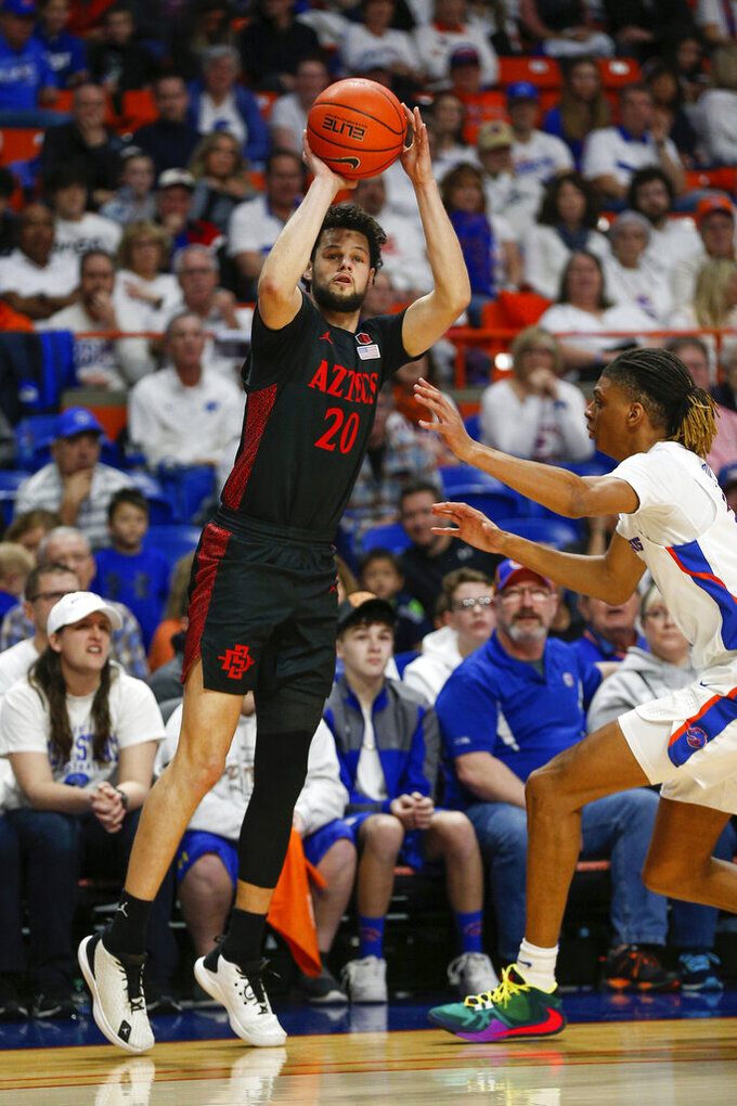 San Diego State guard Jordan Schakel (20) shoots a three-point basket against Boise State during the first half of an NCAA college basketball game, Sunday, Feb. 16, 2020, in Boise, Idaho. (AP Photo/Steve Conner)