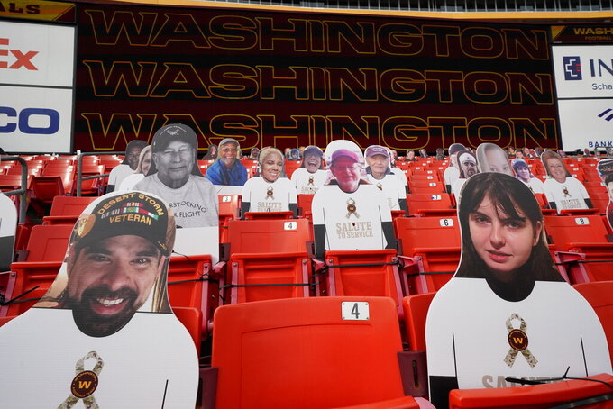 Salute to Service tributes are seen on fan cut-outs in seating areas of FedEx Field before the start of an NFL football game between the Cincinnati Bengals and Washington Football Team, Sunday, Nov. 22, 2020, in Landover. (AP Photo/Andrew Harnik)