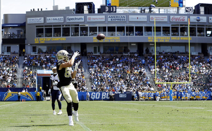 New Orleans Saints wide receiver Austin Carr makes a touchdown catch against the Los Angeles Chargers during the second half of a preseason NFL football game Sunday, Aug. 18, 2019, in Carson, Calif. (AP Photo/Gregory Bull )