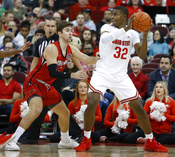 Ohio State's E.J. Liddell, left, posts up against Southeast Missouri State's Isaiah Gable during the first half of an NCAA college basketball game, Tuesday, Dec. 17, 2019, in Columbus, Ohio. (AP Photo/Jay LaPrete)