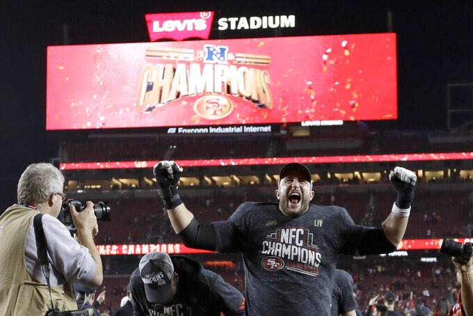 FILE - In this Jan. 19, 2020, file photo, San Francisco 49ers offensive tackle Joe Staley celebrates after the NFL NFC Championship football game against the Green Bay Packers in Santa Clara, Calif. Staley was the one constant in San Francisco during a more than decade-long roller coaster that saw the 49ers go from the basement to the Super Bowl twice in a career that ended with his retirement last week.(AP Photo/Tony Avelar, File)