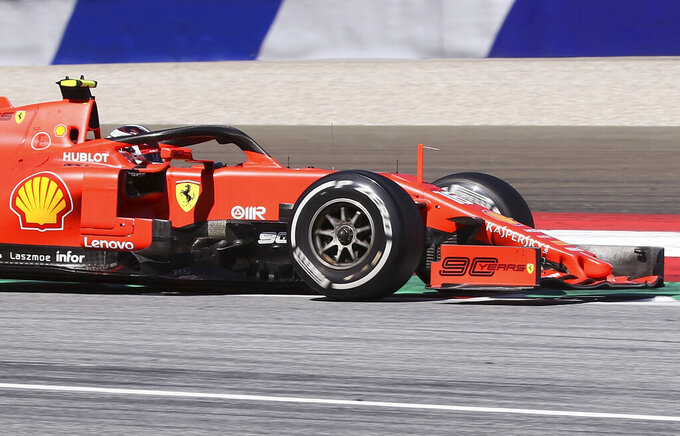 Ferrari driver Charles Leclerq of Monaco steers his car during the Austrian Formula One Grand Prix at the Red Bull Ring racetrack in Spielberg, southern Austria, Sunday, June 30, 2019. (AP Photo/Ronald Zak)