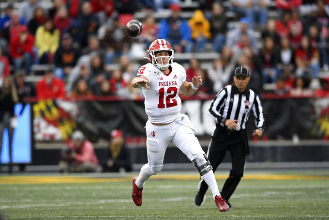 Indiana quarterback Peyton Ramsey throws a pass during the second half of an NCAA college football game against Maryland, Saturday, Oct. 19, 2019, in College Park, Md. (AP Photo/Nick Wass)