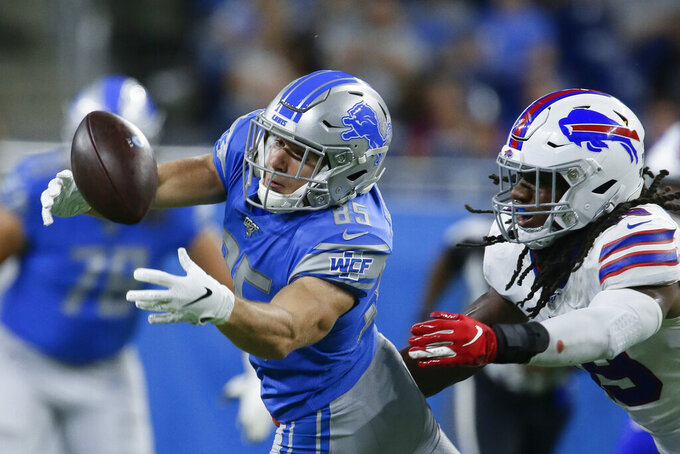 Detroit Lions wide receiver Tom Kennedy (85) tries unsuccessfully to pull in a pass as Buffalo Bills middle linebacker Tremaine Edmunds defends during the first half of an NFL preseason football game in Detroit, Friday, Aug. 23, 2019. (AP Photo/Duane Burleson)