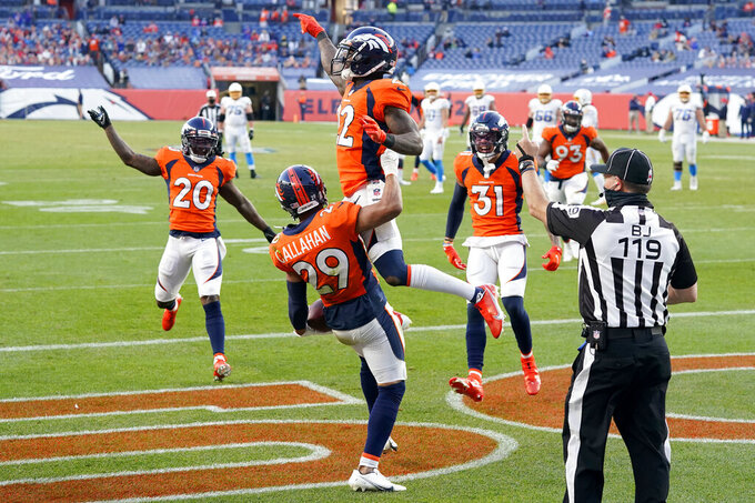 Denver Broncos strong safety Kareem Jackson (22) celebrates his interception in the end zone against the Los Angeles Chargers during the second half of an NFL football game, Sunday, Nov. 1, 2020, in Denver. (AP Photo/David Zalubowski)