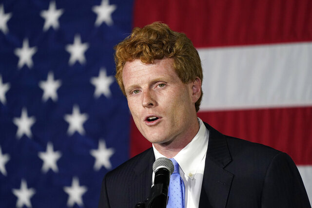 "FILE - In this Sept. 1, 2020 file photo, U.S. Rep. Joe Kennedy III speaks outside his campaign headquarters in Watertown, Mass.  Retiring Rep. Joe Kennedy III has used his farewell speech from Congress to deride the ""great lie of our times"" that the government lacks the resources and will to help people in need. The Massachusetts Democrat says the real problem is greed, not scarcity. (AP Photo/Charles Krupa, File)"
