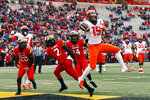 Illinois wide receiver Trenard Davis (15) is unable to make a catch for a touchdown in the end zone in the first half of an NCAA college football game against Maryland, Saturday, Oct. 27, 2018, in College Park, Md. (AP Photo/Patrick Semansky)