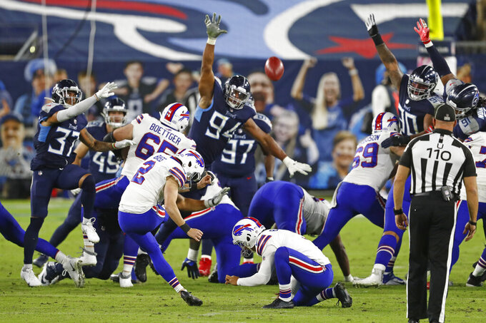 Buffalo Bills kicker Tyler Bass (2) kicks a 43-yard field goal against the Tennessee Titans in the first half of an NFL football game Tuesday, Oct. 13, 2020, in Nashville, Tenn. (AP Photo/Wade Payne)