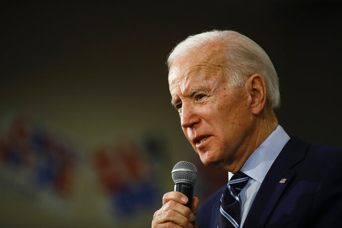 Democratic presidential candidate former Vice President Joe Biden speaks during a campaign event, Tuesday, Jan. 21, 2020, in Ames, Iowa. (AP Photo/Matt Rourke)