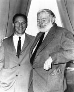 FILE - In this undated file photo, A.E. Hotchner, left, and author Ernest Hemingway pose for a photo in Seattle. Hotchner was staging Hemingway's story