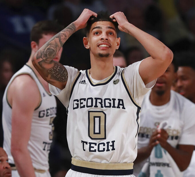 Georgia Tech guard Michael Devoe reacts to missing a 3-pointer in the final minutes of the team's loss to Duke in an NCAA college basketball game Wednesday, Jan. 8, 2020, in Atlanta. (Curtis Compton/Atlanta Journal-Constitution via AP)