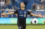 Montreal Impact's Lassi Lappalainen reacts after scoring against FC Dallas during first-half MLS soccer match action in Montreal, Saturday, Aug. 17, 2019. (Graham Hughes/The Canadian Press via AP)