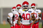 Kansas City Chiefs defensive back Rodney Clemons runs with teammates during an NFL football training camp practice Thursday, Aug. 27, 2020, in Kansas City, Mo. (AP Photo/Charlie Riedel)