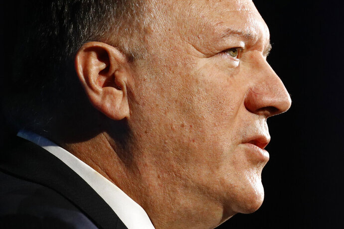Secretary of State Mike Pompeo speaks at the Heritage Foundation's annual President's Club Meeting, Tuesday, Oct. 22, 2019, in Washington. (AP Photo/Patrick Semansky)