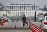 A Pakistani army soldier patrols at a checkpoint near presidency to ensure security ahead of Saudi Arabia's crown prince visit to Pakistan, in Islamabad, Pakistan, Sunday, Feb. 17, 2019. Saudi Crown Prince Mohammed bin Salman will arrive in Islamabad on Sunday evening on an official visit that is expected to include the signing of agreements for billions of dollars of investment in Pakistan. (AP Photo/Anjum Naveed)
