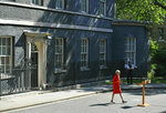 Britain's Prime Minister Theresa May arrives to make a statement outside at 10 Downing Street in London, Friday May 24, 2019. Theresa May says she'll quit as UK Conservative leader on June 7, sparking contest for Britain's next prime minister. (Dominic Lipinski/PA via AP)