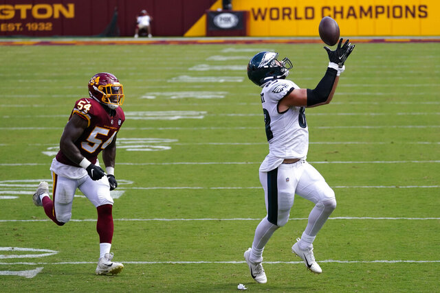 Philadelphia Eagles tight end Dallas Goedert (88) catches a pass on his way to scoring a touchdown against Washington Football Team Kevin Pierre-Louis (54) during the first half of an NFL football game, Sunday, Sept. 13, 2020, in Landover, Md. (AP Photo/Alex Brandon)