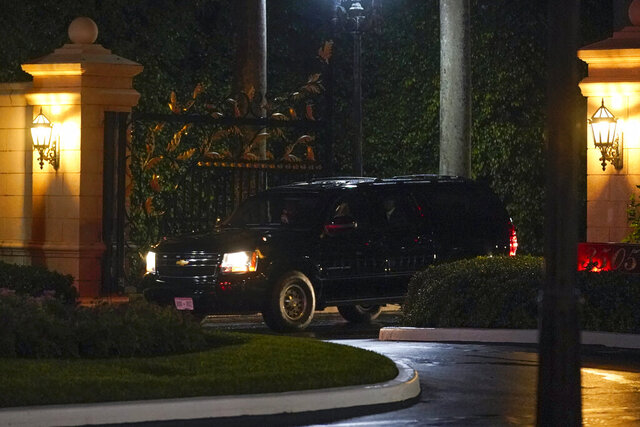 President Donald Trump's motorcade departs Trump International Golf Club, Sunday, Dec. 27, 2020, in West Palm Beach, Fla. Trump is returning to his Mar-a-Lago resort in Palm Beach, Fla. (AP Photo/Patrick Semansky)