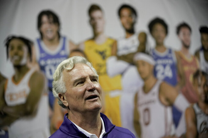 Kansas State coach Bruce Weber speaks to the media during Big 12 NCAA college basketball media day Wednesday, Oct. 20, 2021, in Kansas City, Mo. (AP Photo/Charlie Riedel)