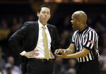 Vanderbilt head coach Bryce Drew argues a call in the first half of an NCAA college basketball game against Auburn Saturday, Feb. 16, 2019, in Nashville, Tenn. (AP Photo/Mark Humphrey)
