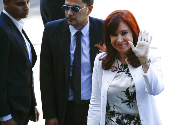Elected vice president Cristina Fernandez de Kirchner arrives to court in Buenos Aires, Argentina, Monday, Dec. 2, 2019. Fernandez is appearing before a federal judge investigating her for alleged corruption just days before she is to be sworn in as vice president. (AP Photo/Natacha Pisarenko)