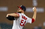 Boston Red Sox relief pitcher Colten Brewer throws during the sixth inning of the team's baseball game against the Detroit Tigers, Saturday, July 6, 2019, in Detroit. (AP Photo/Carlos Osorio)