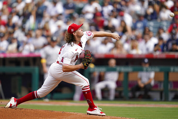 Los Angeles Angels starting pitcher Packy Naughton throws during the first inning of a baseball game against the New York Yankees Wednesday, Sep. 1, 2021, in Anaheim, Calif. (AP Photo/Ashley Landis)