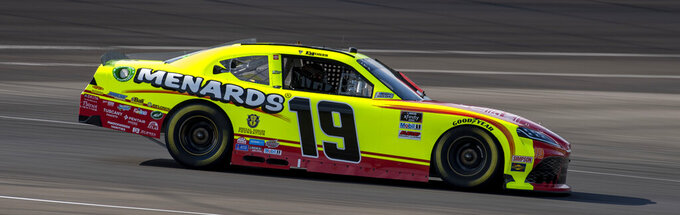 Brandon Jones (19) during practice for the NASCAR Xfinity Series auto race at Indianapolis Motor Speedway, Friday, Aug. 13, 2021, in Indianapolis. (AP Photo/Doug McSchooler)