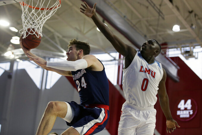 Gonzaga forward Corey Kispert, left, drives past Loyola Marymount guard Eli Scott, right, during the first half of an NCAA college basketball game in Los Angeles, Saturday, Jan. 11, 2020. (AP Photo/Alex Gallardo)