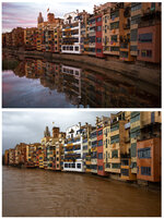 This combo of two photos shows a Dec. 13, 2017 photo, top, of the river Onyar and the same part of the river during a storm on Thursday, Jan. 23, 2020 in Girona, Spain. Since Sunday the storm has hit mostly eastern areas of Spain with hail, heavy snow and high winds, while huge waves smashed into towns on the Mediterranean coast and nearby islands of Mallorca and Menorca. (AP Photo/Emilio Morenatti)