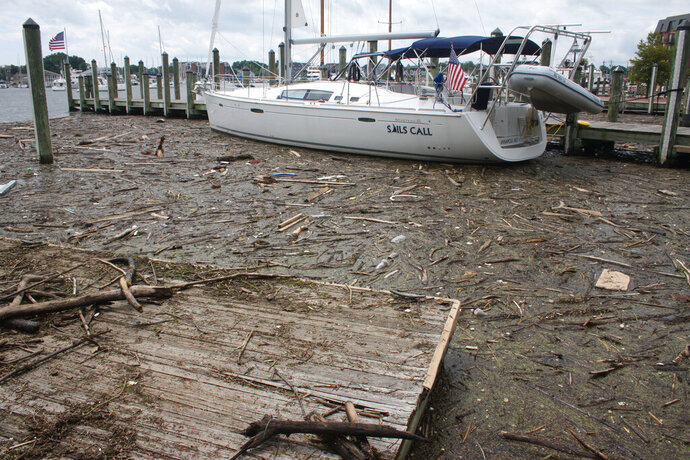FILE - In a Wednesday, Aug. 1, 2018 file photo, debris washed into Maryland waters from record rainfall accumulates around a sailboat in Annapolis, Md. Gov. Larry Hogan says Maryland has