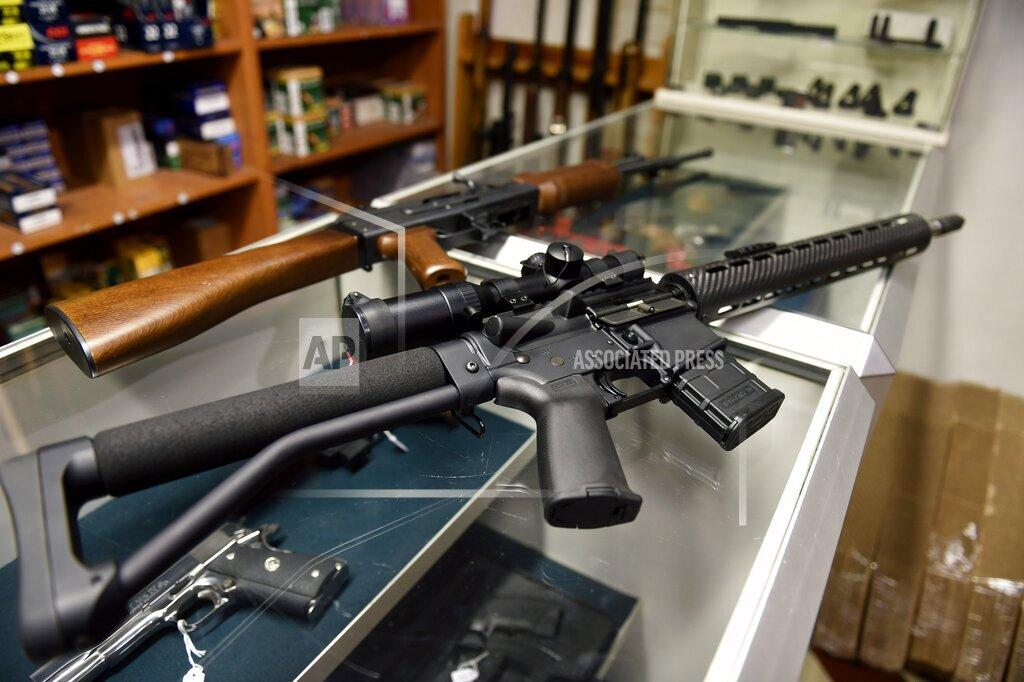 REX AP     5495122a Armalite Rifle on sale at a gun shop in Helsinki, Finland - 17 Dec 2015