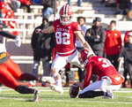 Indiana place kicker Logan Justus (82) kicks the game-winning field goal during the second half of an NCAA college football game Saturday, Nov. 10, 2018, in Bloomington, Ind. Indiana won 34-32. (AP Photo/Doug McSchooler)