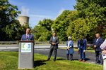 Mike Pries, Dauphin County commissioner, speaks during a press conference on the shut down of Three Mile Island, site of the United States' worst commercial nuclear power accident, at the training center across the street on Friday, Sept. 20, 2019, in Harrisburg, Pa. (Joe Hermitt/The Patriot-News via AP)