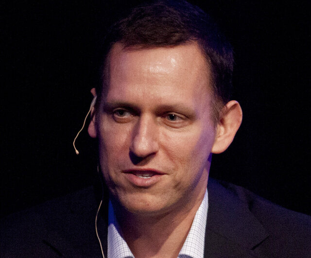 FILE - In this Thursday, March 8, 2012, file photo, Clarium Capital President Peter Thiel speaks during his keynote speech at the StartOut LGBT Entrepreneurship Awards in San Francisco. Seventeen years after it was born with the help of CIA seed money, Palantir Technologies is finally going public. Thiel, the iconoclastic entrepreneur and PayPal co-founder, holds the largest chunk of Palantir stock. (AP Photo/Ben Margot, File)